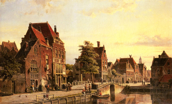 Figures by a Canal in a Dutch Town Koekkoek, Willem Painting Reproductions