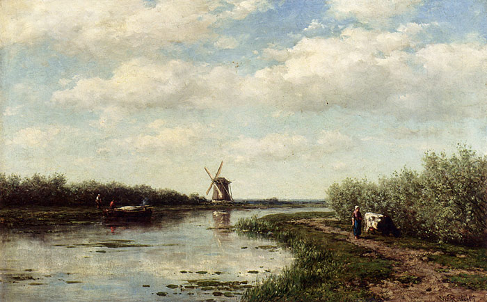 Willem  Roelofs Reproductions-Figures On A Country Road Along A Waterway, A Windmill In The Distance