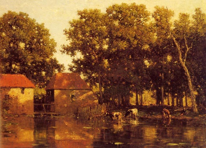 Willem  Roelofs Reproductions-A Sunlit River Landscape With Cows Watering