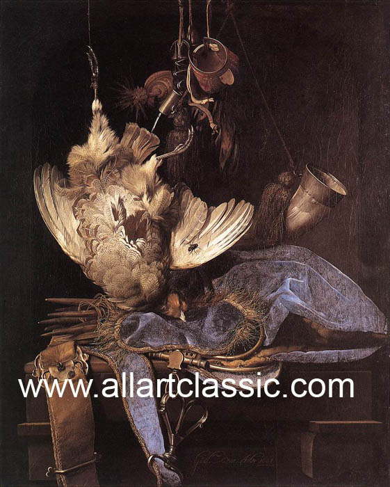Paintings Reproductions Aelst, Willem van Still-Life with Hunting Equipment and Dead Birds, 1668