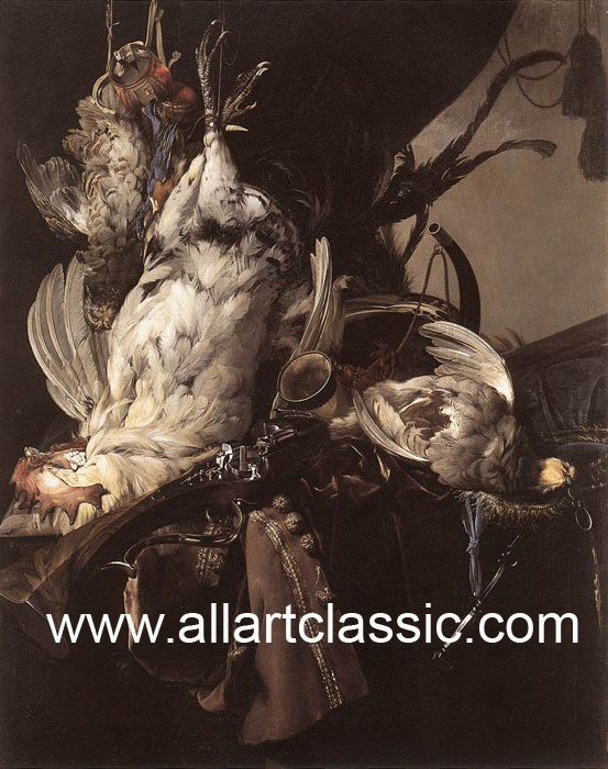 Willem van Aelst Reproductions-Still-Life of Dead Birds and Hunting Weapons, 1660