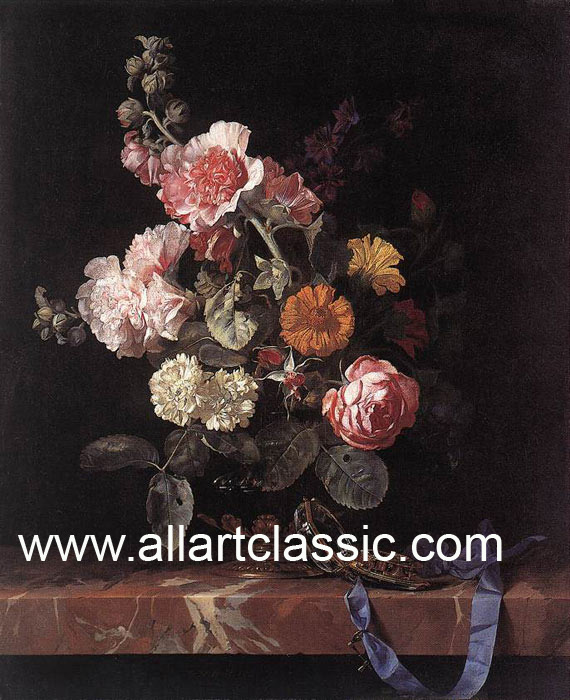 Willem van Aelst Reproductions-Vase of Flowers with Watch, 1656