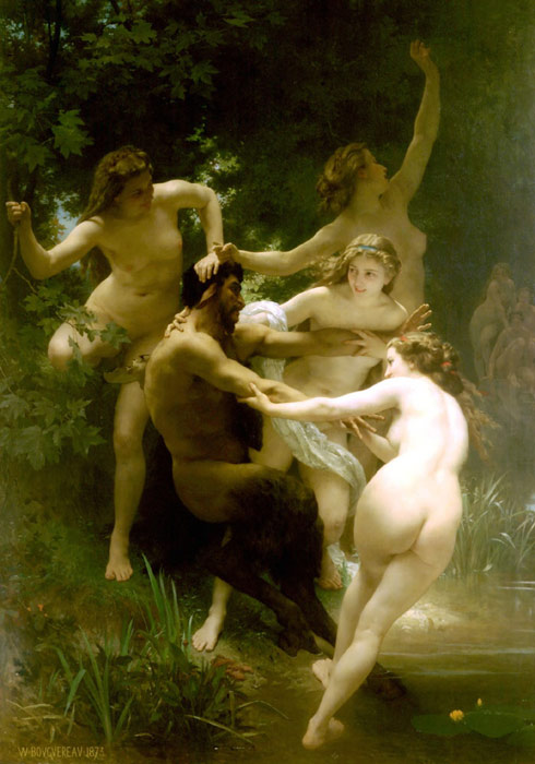 Nymphes et Satyre [Nymphs and Satyr], 1873 Bouguereau, William Painting Reproductions