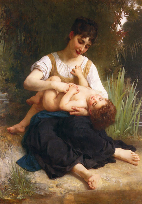 William Bouguereau Reproductions-The Joys of Motherhood (Girl Tickling a Child), 1878