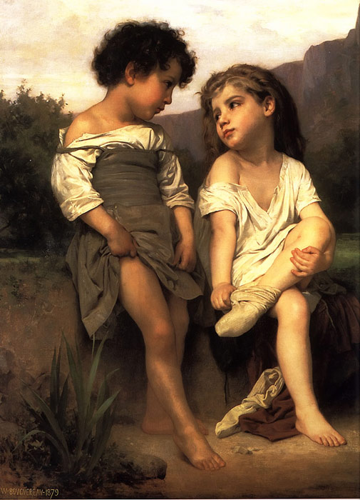 William Bouguereau Reproductions-Au Bord du Ruisseau [At the Edge of the Brook], 1879