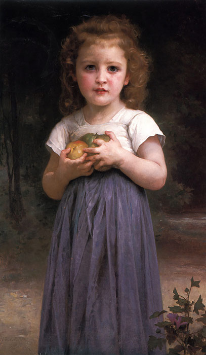 William Bouguereau Reproductions-Little girl holding apples in her hands, 1895