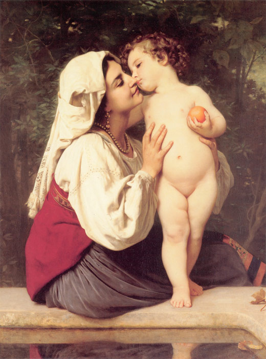 Paintings Reproductions Bouguereau, William Le Baiser [The Kiss], 1863