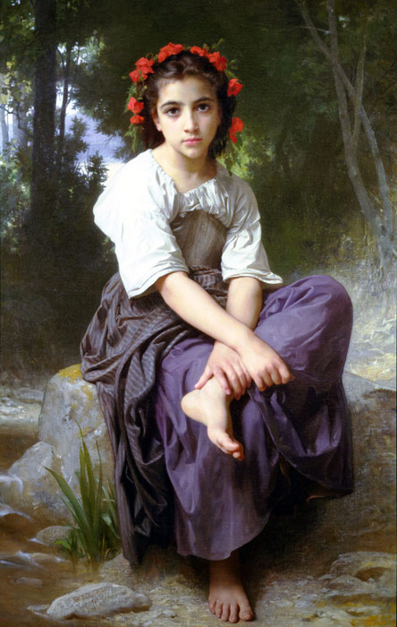 Paintings Reproductions Bouguereau, William Au Bord du Ruisseau [At the Edge of the Brook], 1875