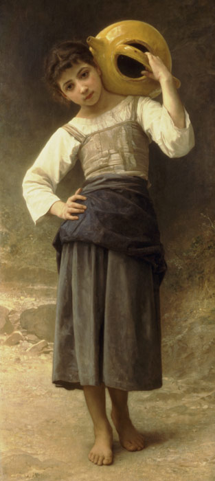 William Bouguereau Reproductions-Jeune Fille Allant ? la Fontaine [Young Girl Going to the Fountain], 1885