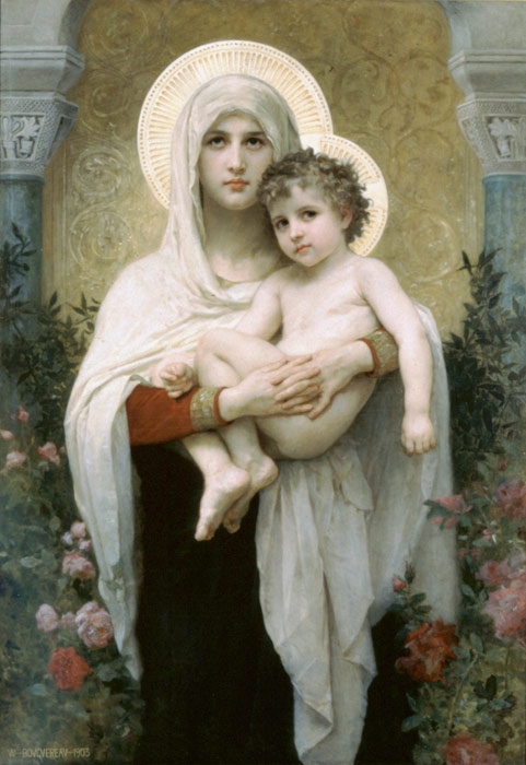 Paintings Reproductions Bouguereau, William La Madone aux Roses [The Madonna of the Roses], 1903