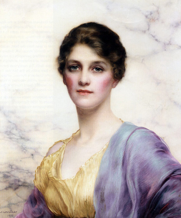 Paintings Reproductions Wontner, William Clarke An Emerald-Eyed Beauty, 1916