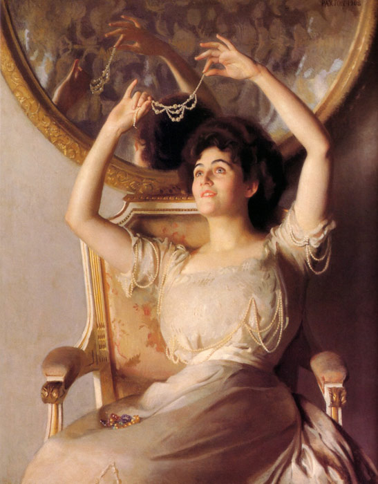 William McGregor Paxton   Reproductions-The String of Pearls, 1908