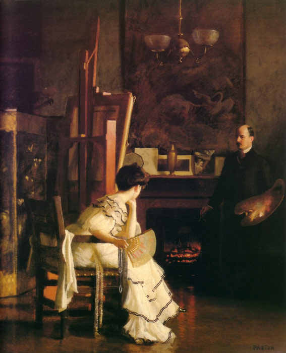 Paintings Reproductions Paxton, William McGregor In the Studio, c.1905