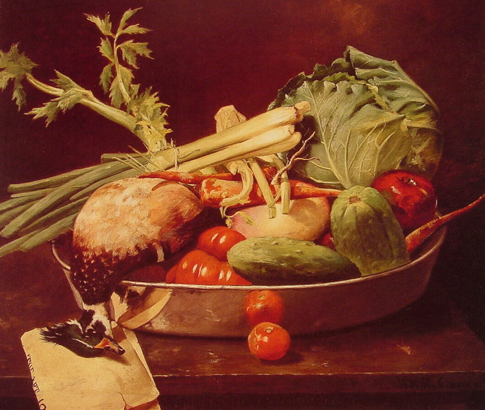 William Merritt Chase Reproductions-Still Life with Vegetables, 1870