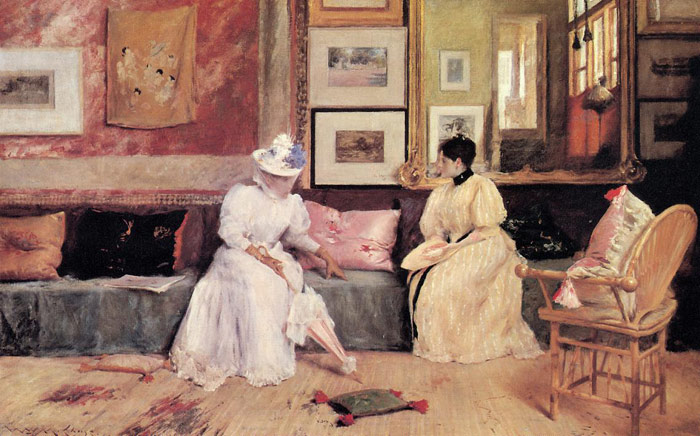 William Merritt Chase Reproductions-A Friendly Call, 1895