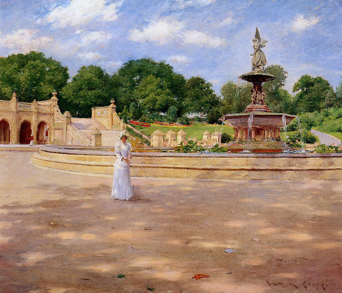 William Merritt Chase Reproductions-An Early Stroll in the Park, 1890