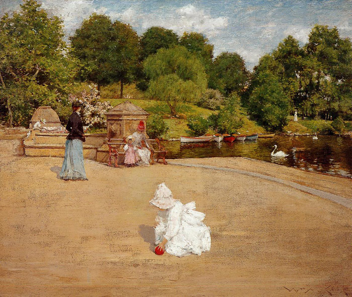 Paintings Reproductions Chase, William Merritt A Bit of the Terrace aka Early Morning Stroll, 1890