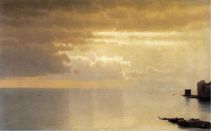 William Stanley Haseltine  Reproductions-A Calm Sea, Mentone, 1868