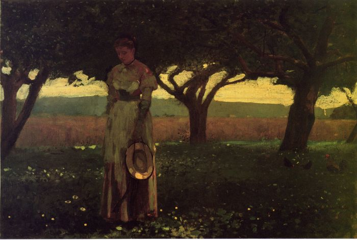 Paintings Reproductions Homer, Winslow Girl in the Orchard , 1874