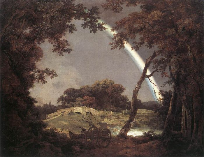 Joseph Wright Reproductions-Landscape with Rainbow, 1795