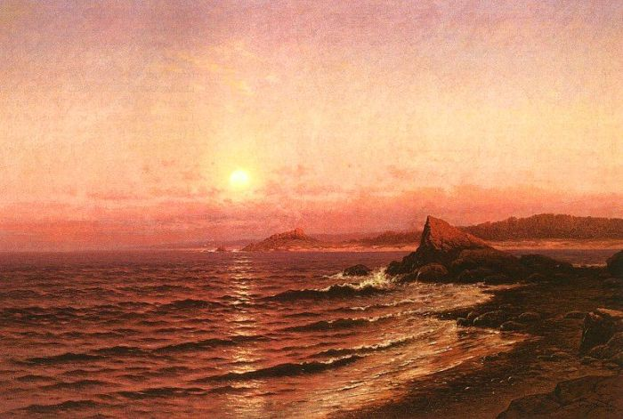 Raymond D Yelland Reproductions-Moonrise Over Seacoast at Pacific Grove, 1886