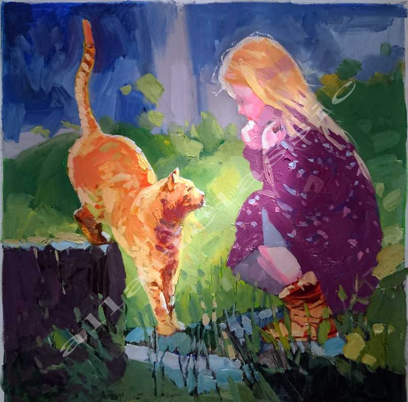 Original Oil Painting -girl with cat playing