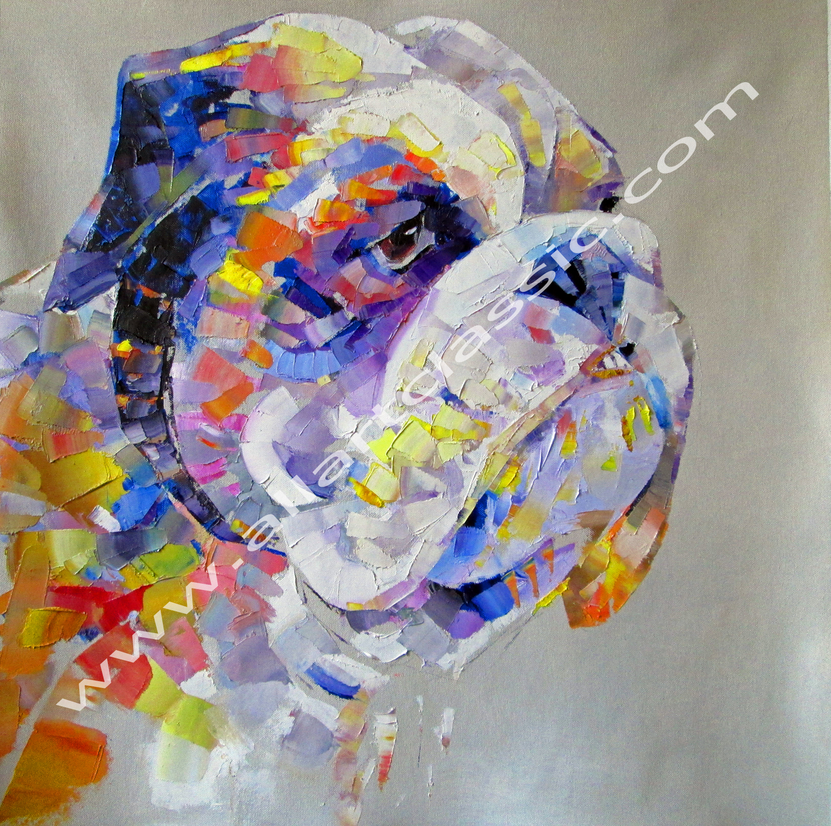 Original Oil Painting - Colorful Dog