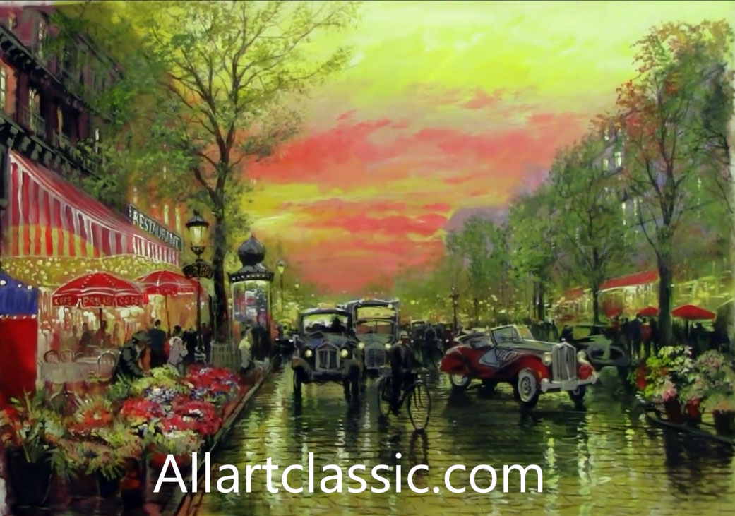 Original Wall Art-Cozy Evening Street