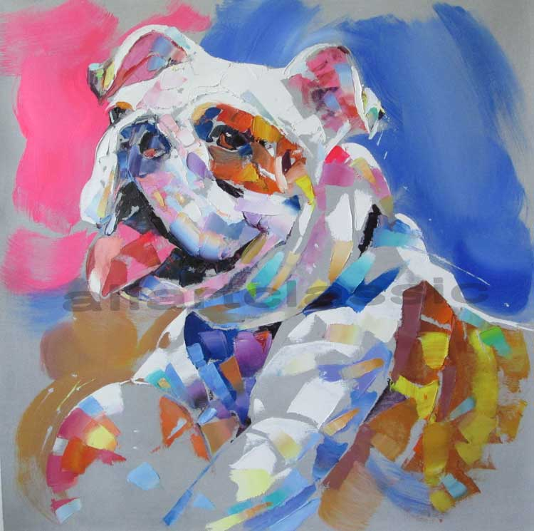 Original Art- Portrait of Dog in Pink and Blue, 2018