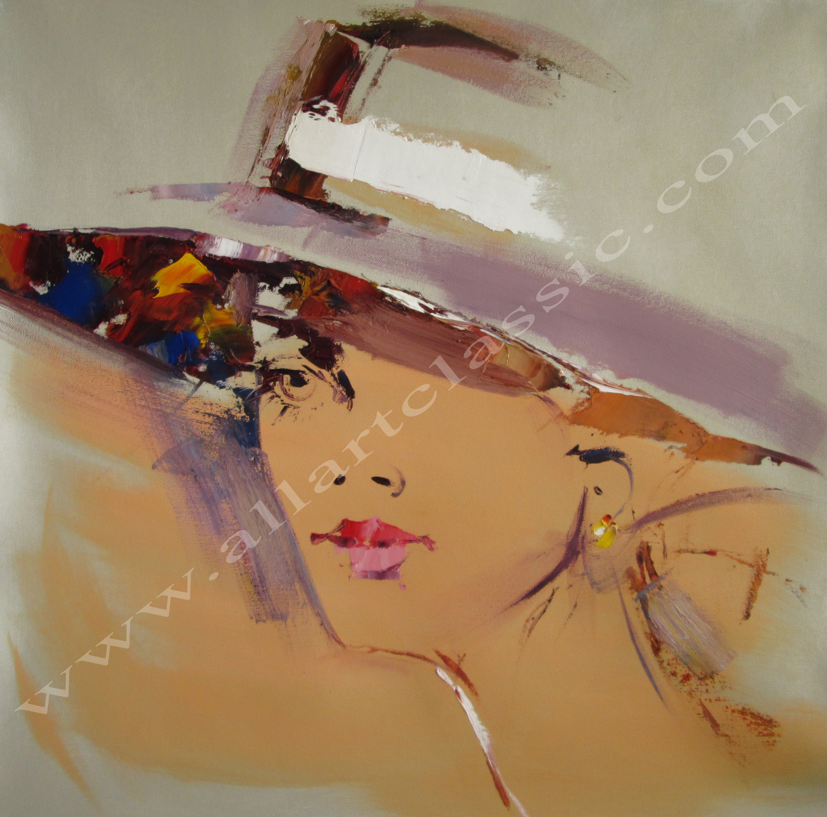 Original Artwork- Girl with Fashion Hat