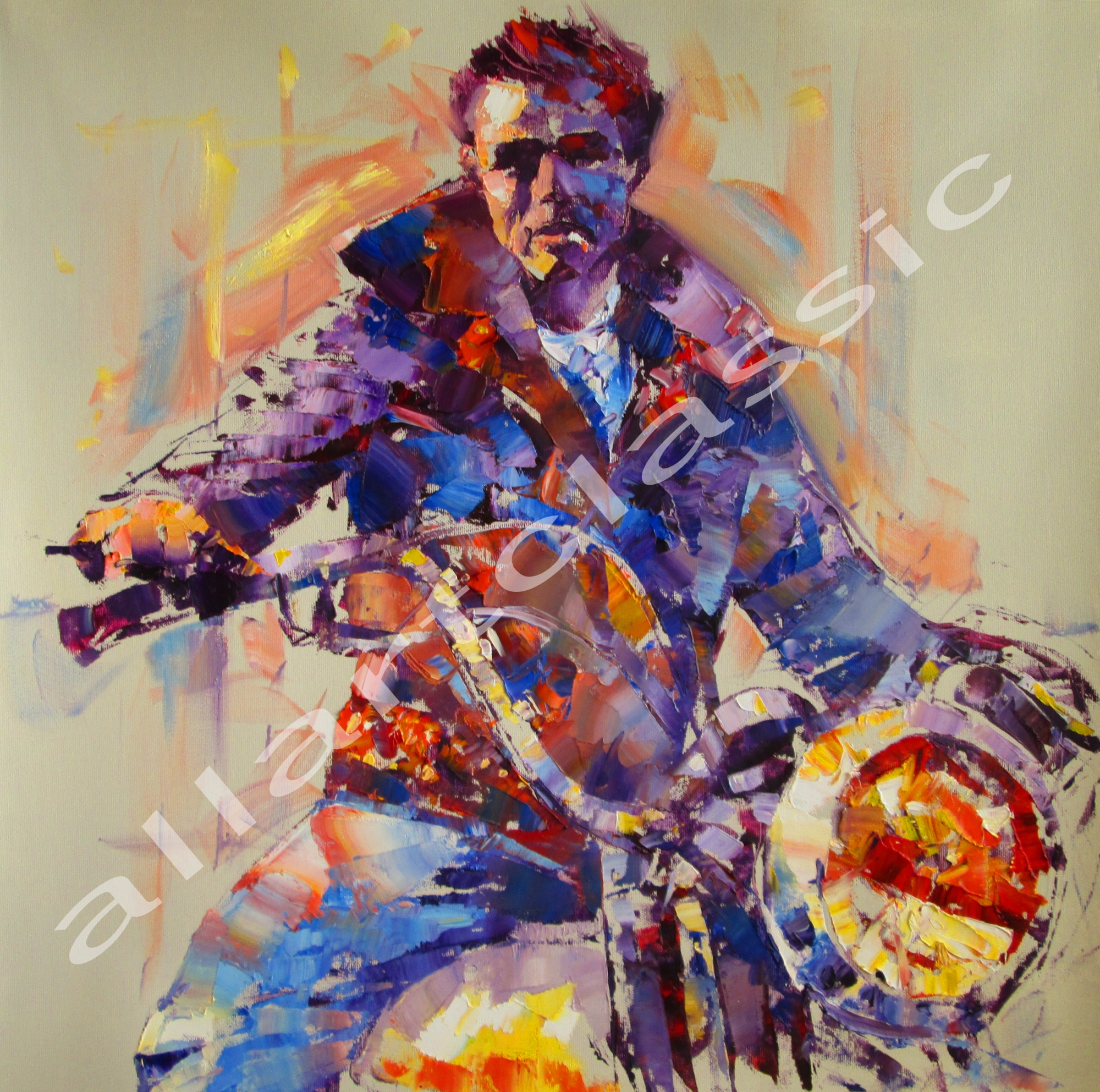 Original Oil Painting - James Dean Riding a Harley