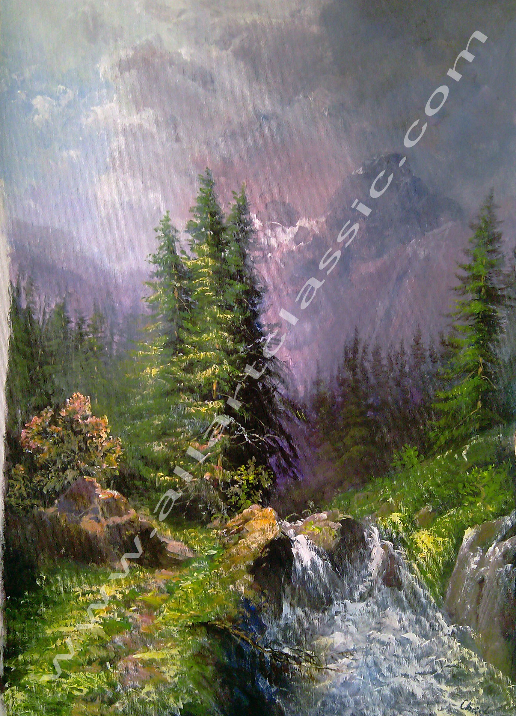 Mountain Landscape Acrylic Painting Oil Paintings Gallery