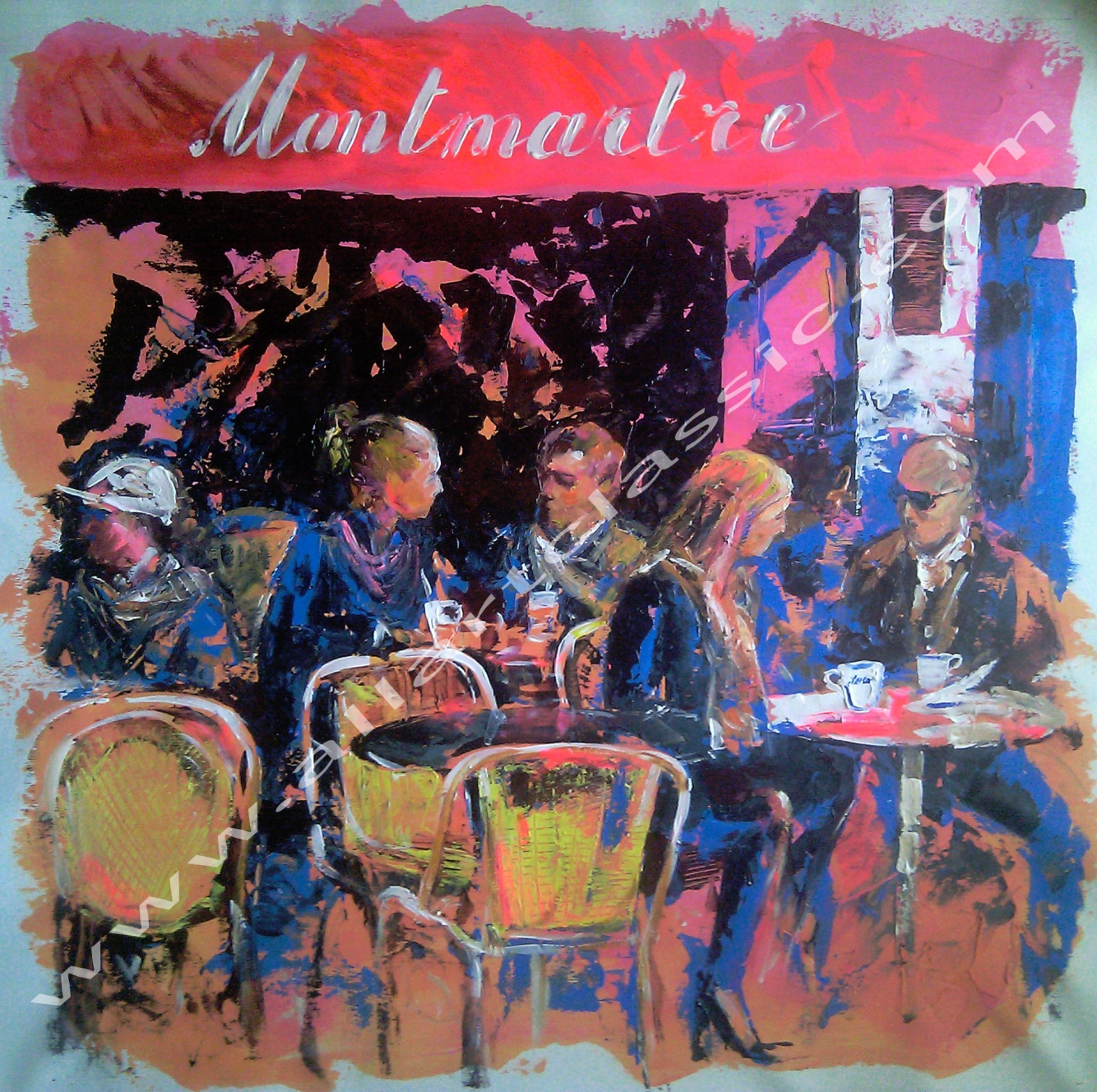 Original Oil Painting - Paris Cafe Montmartre