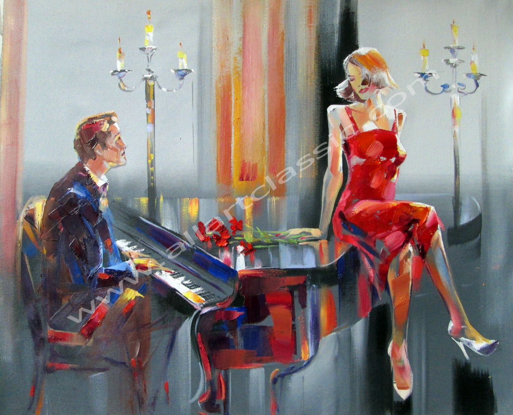 Original Wall Art-Piano Singer