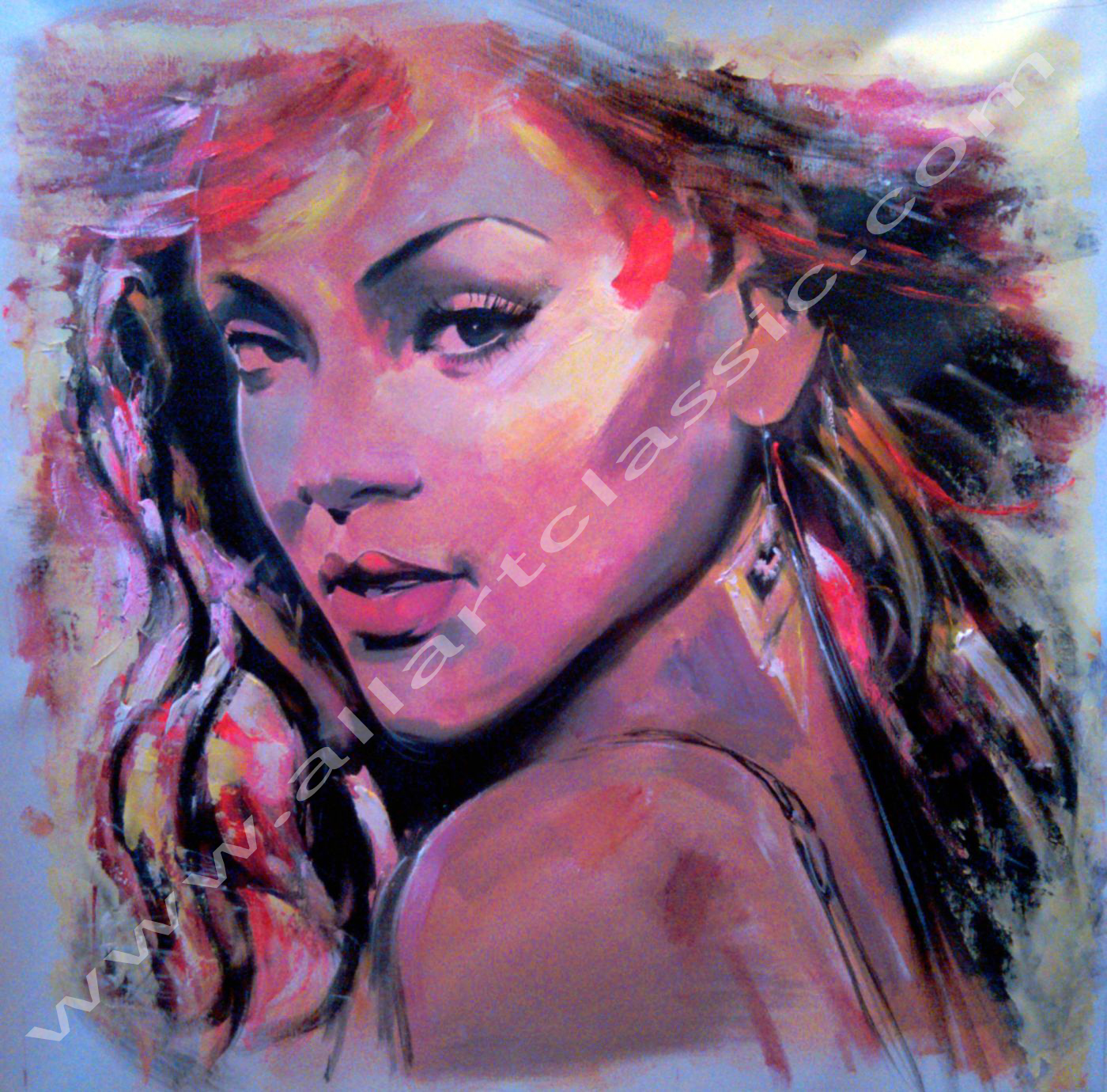 Original Oil Painting - Pop Singer Rihanna