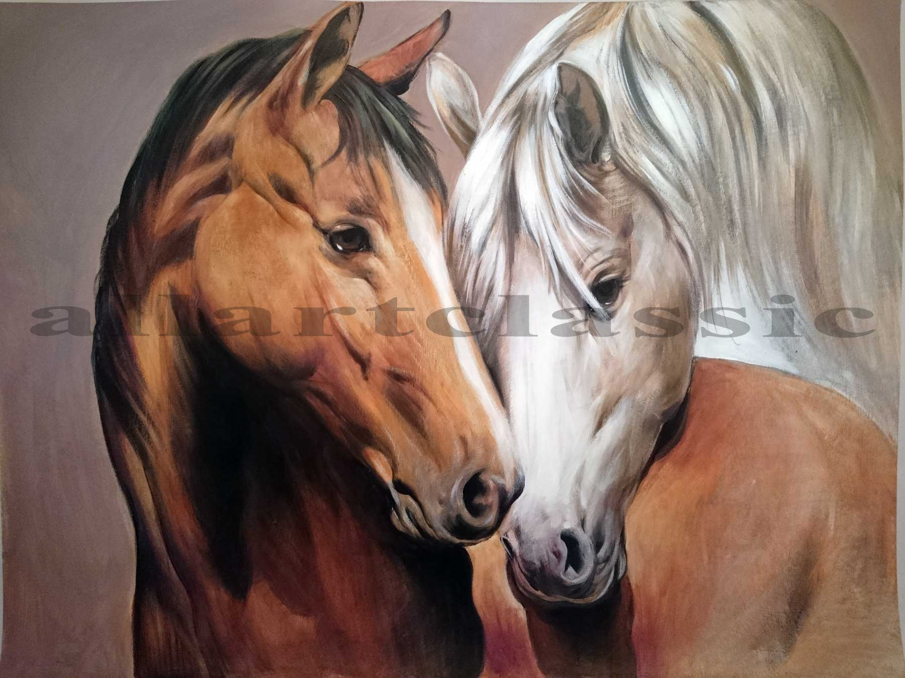 Art Reproductions And Original Oil Paintings Landscapes Two Horses Heads Portrait Painting Two Horses 2017