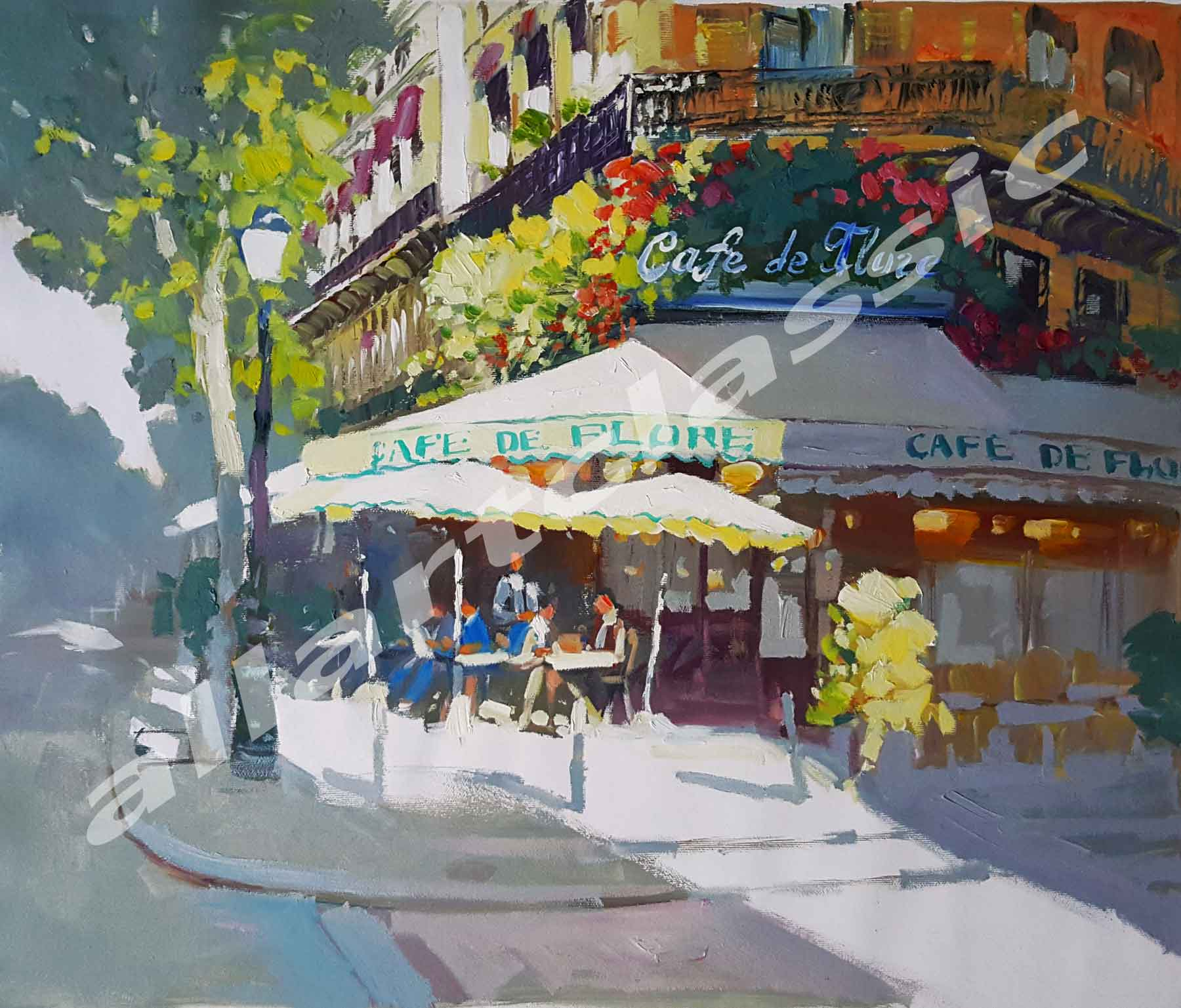 Original Oil Painting - Cafe de Flore, Paris
