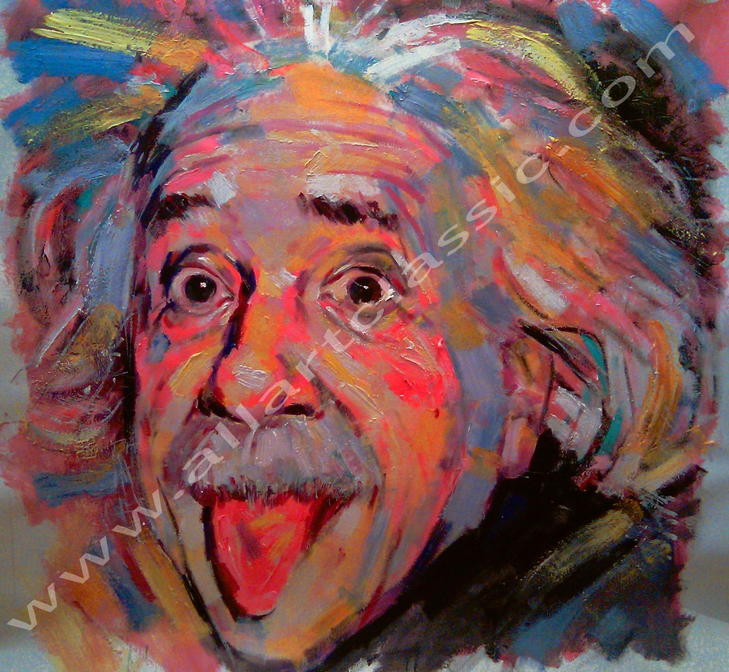 Original Oil Painting - Crazy Einstein