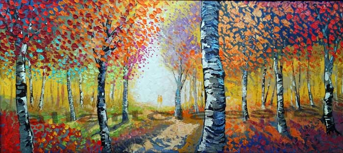 Original Oil Painting Long horizontal -Colorful Woods