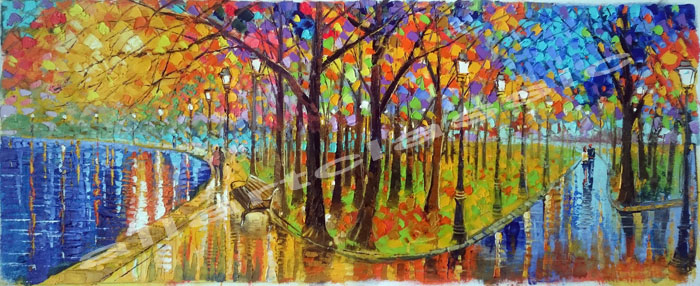 Original Authentic Oil Painting with palette knife- Two Couples in the Park
