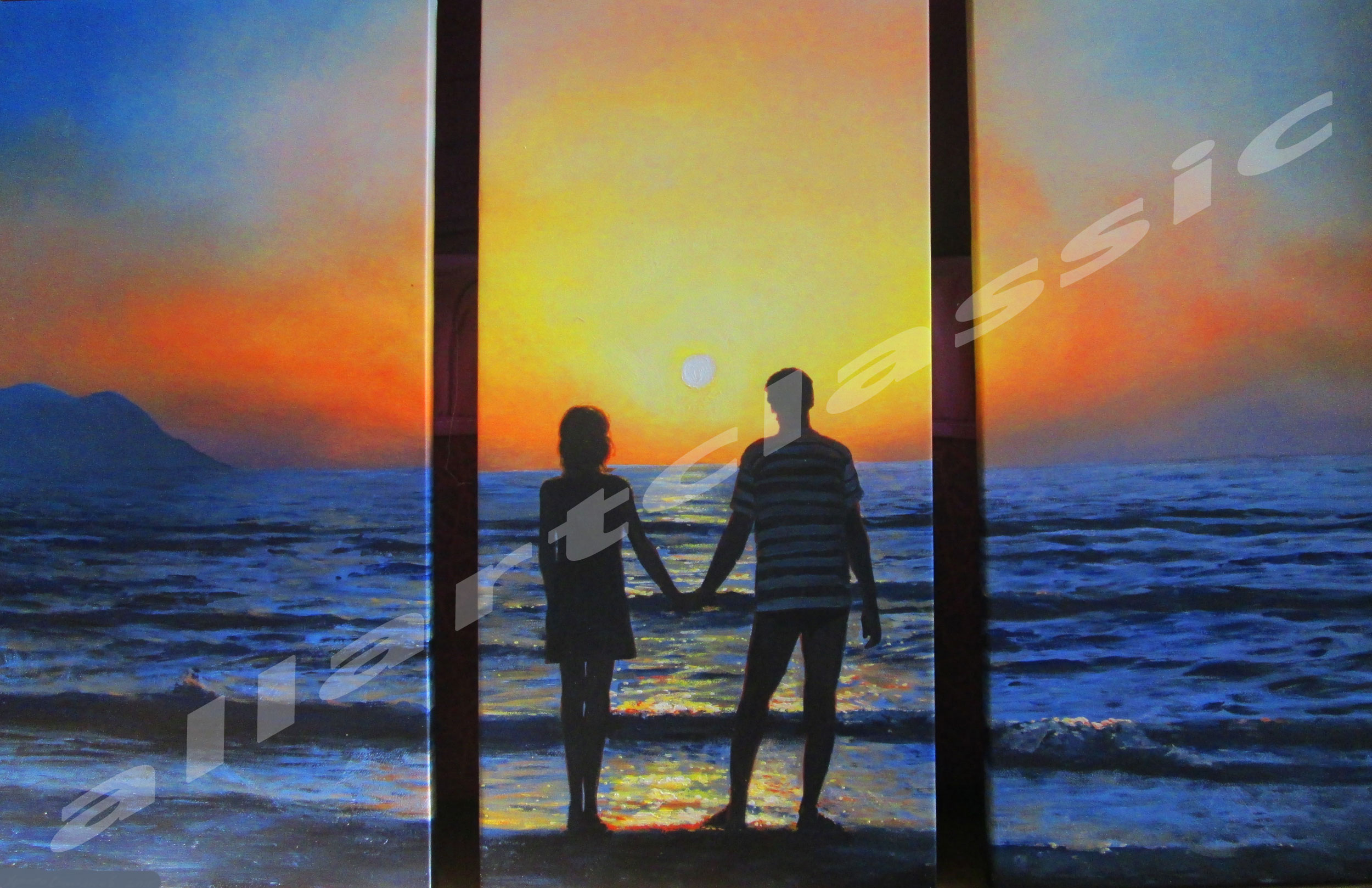 Original Art On the Beach Romance