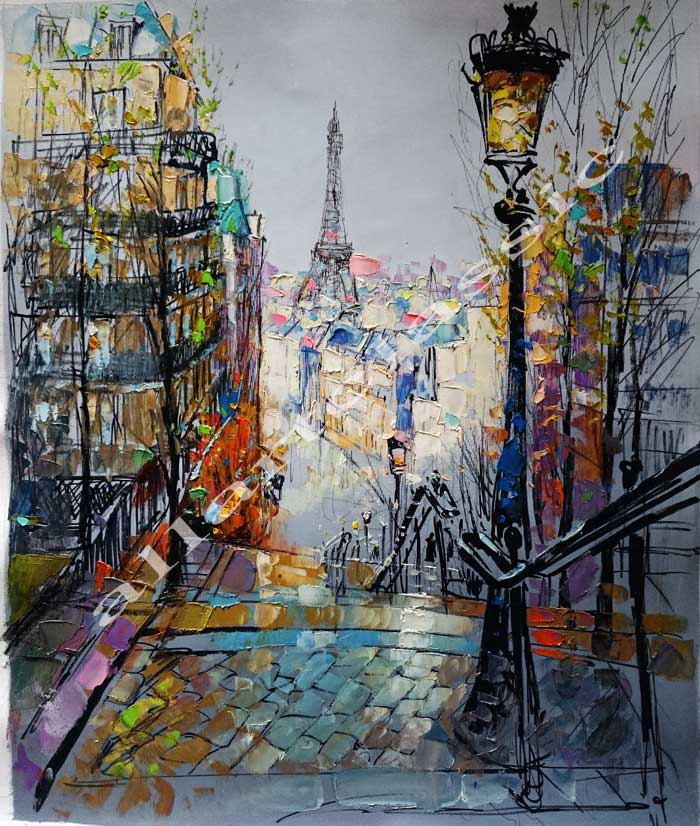 Original Oil Painting -Paris Stairs at Montmartre