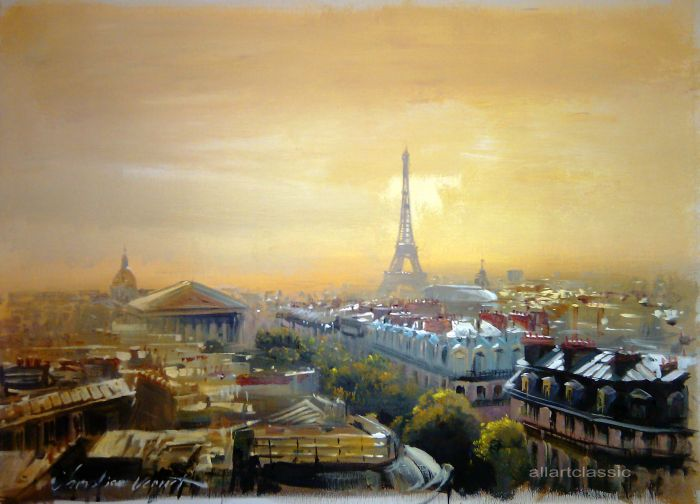 Original Oil Painting - View over Paris