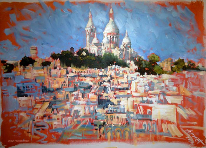 Original Oil Paintings-Sacre Coeur Hill