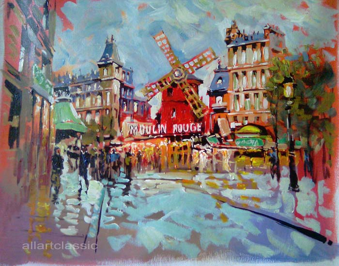 Original Oil Paintings-Moulin Rouge