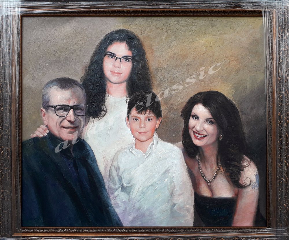 Custom Family Portrait Oil Painting from Photo