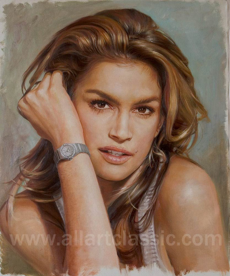 Custom Portrait Oil Painting Cindy Crawford