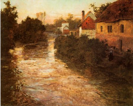 Frits Thaulow Reproductions-Village by the Stream