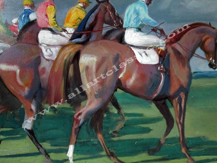Art Reproductions Alfred_Munnings-The_Start_L_B. Our Oil Painting Reproduction -Zoom Details