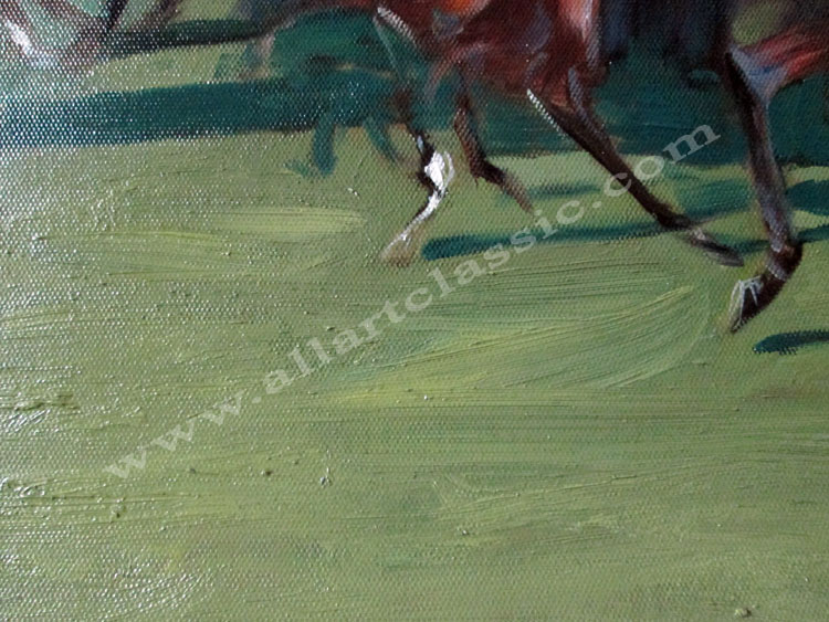 Art Reproductions Alfred_Munnings-The_Start_L_C. Our Oil Painting Reproduction -Zoom Details